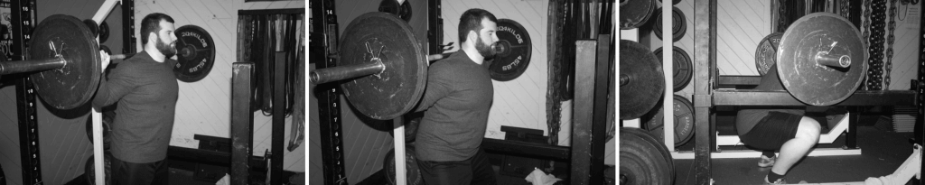 Sitting down in the squat