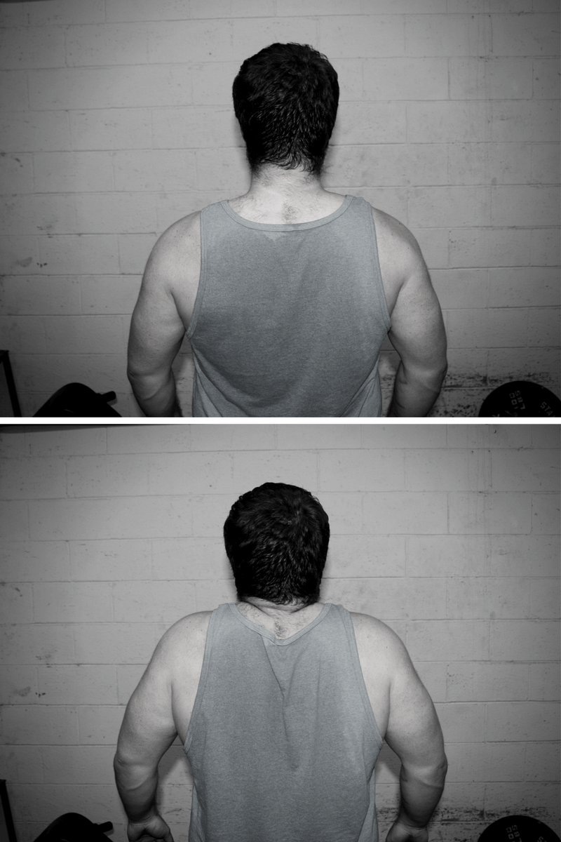 My scapulae are depressed in the top picture (what you want for the deadlift), bringing them closer to my hips, and elevated in the bottom picture (what you don't want when deadlifting), bringing them further from my hips.