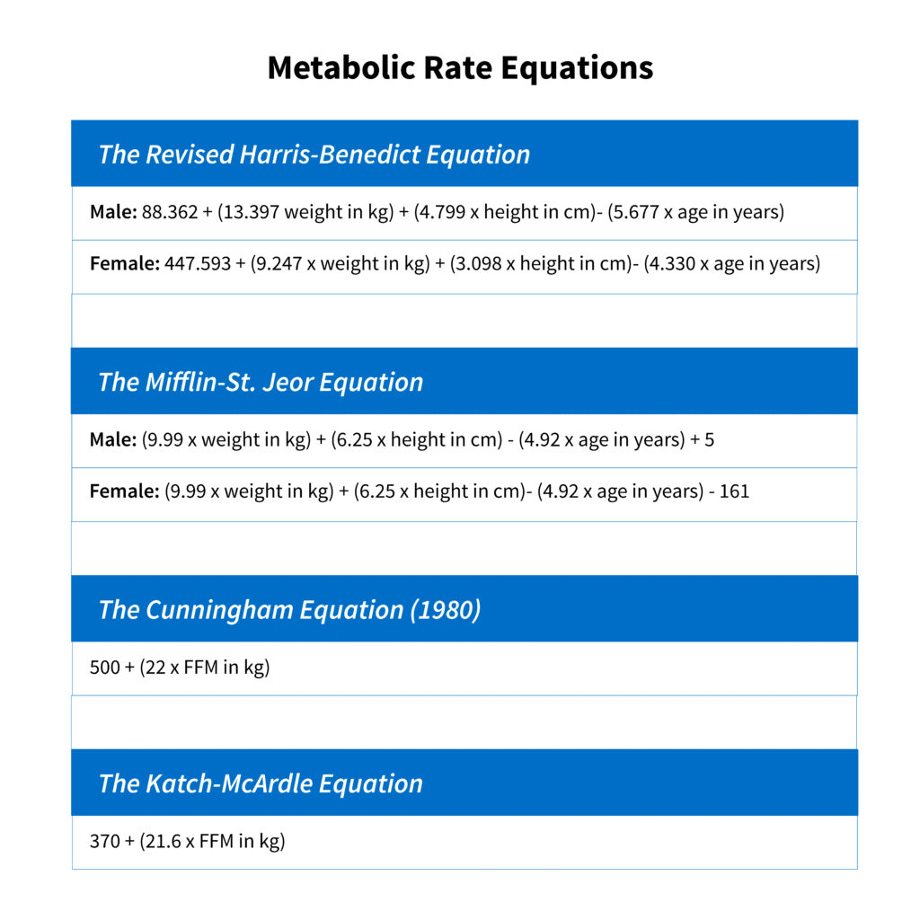metabolic rate equations